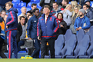Louis van Gaal, the Manchester United Manager looks on from the touchline after the final whistle. Barclays Premier league match, Tottenham Hotspur v Manchester Utd at White Hart Lane in London on Sunday 10th April 2016.<br /> pic by John Patrick Fletcher, Andrew Orchard sports photography.