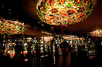Tiffany glass chandeliers at Tavern on the Green..(Photo by Robert Caplin)..