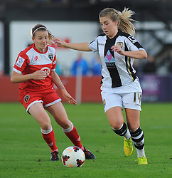 Bristol Academy Womens' Frankie Brown challenges or possession. - Photo mandatory by-line: Nizaam Jones - Mobile: 07583 387221 - 04/10/2014 - SPORT - Football - Bristol - Stoke Gifford Stadium - BAWFC v Notts County Ladies - Sport