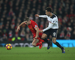 Jordan Henderson of Liverpool (L) is fouled by Dele Alli of Tottenham Hotspur  - Mandatory by-line: Jack Phillips/JMP - 11/02/2017 - FOOTBALL - Anfield - Liverpool, England - Liverpool v Tottenham Hotspur - Premier League