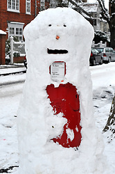 © under license to London News Pictures. .2010.12.19 A postbox is disguised as a snowman in Turhnam Green, West London. Tuesday 21st December is the last posting day for guaranteed delivery of 1st class letters before Christmas day. Picture credit should read Stephen Simpson/London News Pictures.