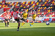 Brentford Forward Ivan Toney(#17) strikes the penalty that puts Brentford 2-0 up in the EFL Sky Bet Championship match between Brentford and Watford at Brentford Community Stadium, Brentford, England on 1 May 2021.