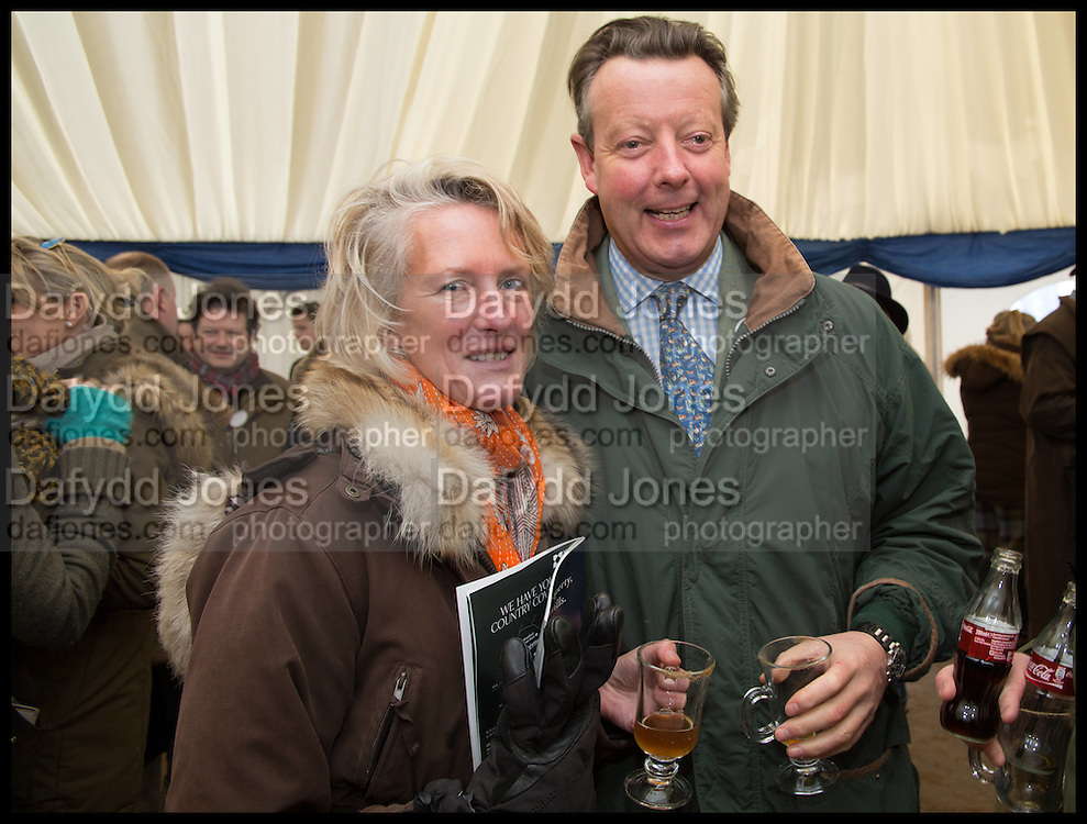 The Countess of Erroll and the Earl of Erroll, The Heythrop Hunt Point to Point. Cockle barrow. 25 January 2015