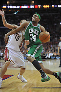 Boston's Paul Pierce drives past Delonte West..The Cleveland Cavaliers defeated the Boston Celtics 108-84 in Game 3 of the Eastern Conference Semi-Finals at Quicken Loans Arena in Cleveland.