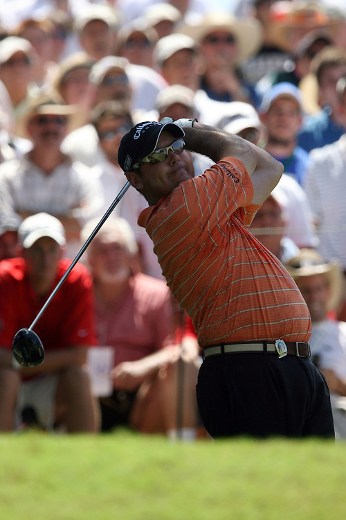 09 August 2007: Rich Beem tees off on the 5th hole during the first round of the 89th PGA Championship at Southern Hills Country Club in Tulsa, OK.