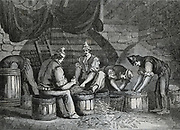 Curing anchovies, Sicily, 1834