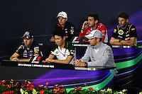 The FIA Press Conference (from back row (L to R)): Nico Hulkenberg (GER) Sahara Force India F1; Jules Bianchi (FRA) Marussia F1 Team; Romain Grosjean (FRA) Lotus F1 Team; Sebastian Vettel (GER) Red Bull Racing; Kamui Kobayashi (JPN) Caterham; Jenson Button (GBR) McLaren. <br /> Japanese Grand Prix, Thursday 2nd October 2014. Suzuka, Japan.