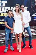 Nederlandse premiere Fast & Furious: Hobbs & Shaw in Pathe Arena, Amsterdam.<br /> <br /> Op de foto:  Christie Bokma met haar zoon en parther