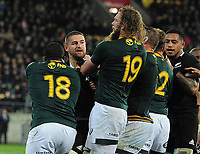 Rugby Union - 2019 Rugby Championship - New Zealand vs. South Africa<br /> <br /> Dane Coles of NZ is confronted by RG Snyman (19) and,Trevor Nyakane (18) as fighting breaks out at Westpac Stadium, Wellington.<br /> <br /> COLORSPORT/ANDREW COWIE