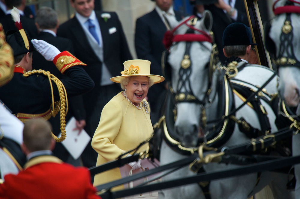 Queen Elizabeth and Prince Philip depart Westminster Abbey following the royal wedding of her grandson, Prince William, and Kate Middleton.