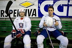 Greg Kuznik (R) and Andrej Hebar at first practice of Slovenian National Ice hockey team before World championship of Division I - group B in Ljubljana, on April 5, 2010, in Hala Tivoli, Ljubljana, Slovenia.  (Photo by Vid Ponikvar / Sportida)