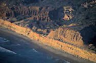 Aerial over Torrey Pines State Reserve at+sunset, Northern San Diego Coastline San Diego County, CALIFORNIA