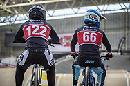 #122 (TOUGAS Alex) CAN and #66 (PALMER James) CAN during practice at the 2019 UCI BMX Supercross World Cup in Manchester, Great Britain