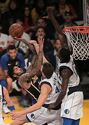 October 31, 2018 - Los Angeles, California, U.S - Brandon Ingram #14 of the Los Angeles Lakers is fouled as he goes to the basket by Maximilian Kleber #42 of the Dallas Mavericks during their NBA game  on Wednesday October 31, 2018 at the Staples Center in Los Angeles, California. (Credit Image: © Prensa Internacional via ZUMA Wire)