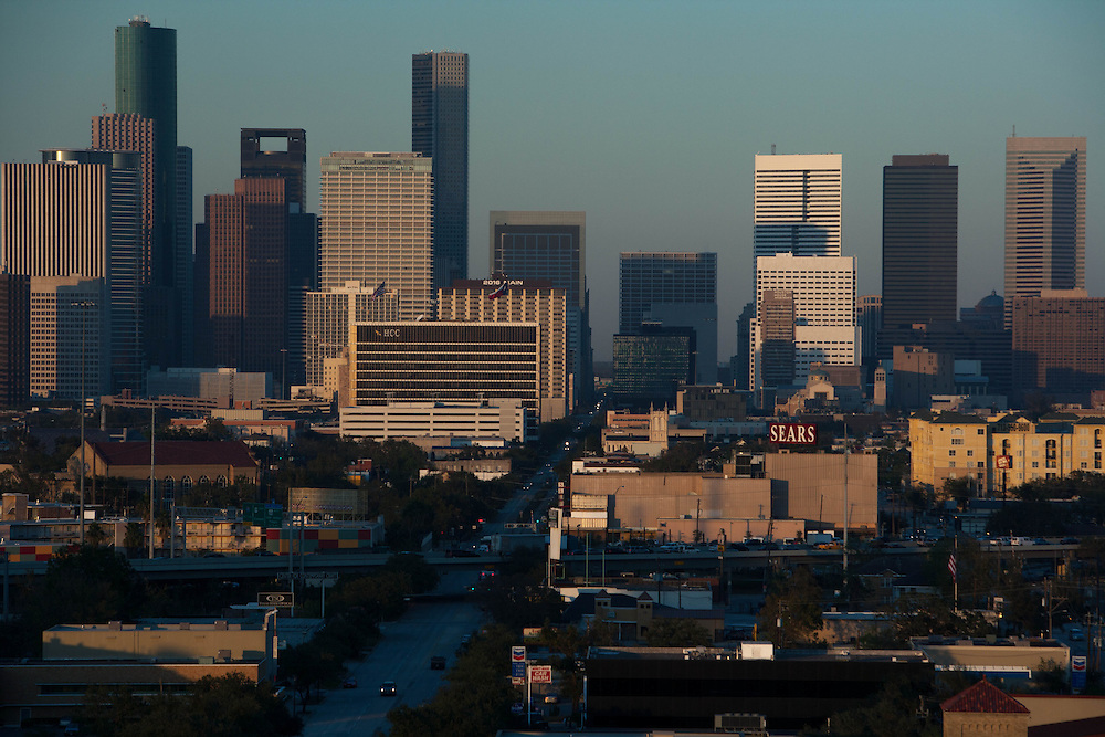Houston, Texas downtown skyline with hazy sky from afternoon smog.