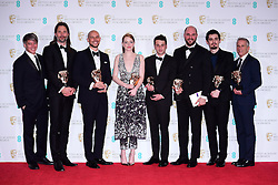 'La La Land' BAFTA winners cinematographer Linus Sandgren, producer Fred Berger, actress Emma Stone, Justin Hurwitz, composer Jordan Horowitz, director Damien Chazelle and producer Marc Platt in the press room during the EE British Academy Film Awards held at the Royal Albert Hall, Kensington Gore, Kensington, London. PRESS ASSOCIATION Photo. Picture date: Sunday 12 February 2017. See PA Story SHOWBIZ Baftas. Photo credit should read: Ian West/PA Wire