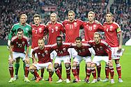 04.09.2015. Copenhagen, Denmark. <br /> UEFA European Champions Group I, Denmark 0 vs. Albania 0.<br /> The Danish team before the match against Albania at Parken Stadium in Copenhagen.<br /> Photo: © Ricardo Ramirez