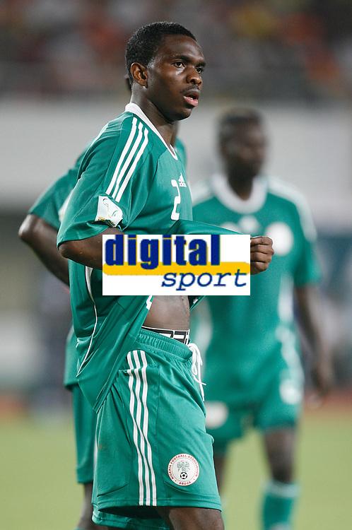 Photo: Steve Bond/Richard Lane Photography.<br />Nigeria v Ivory Coast. Africa Cup of Nations. 21/01/2008. Joseph Yobo of Everton takes a breather
