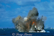dynamite is used to sink the Belcher Barge as an artificial reef, Miami, Florida, USA ( Western Atlantic Ocean )