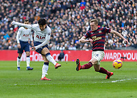 Football - 2018 / 2019 Premier League - Tottenham Hotspur vs. Newcastle United<br /> <br /> Heung-Min Son (Tottenham FC) drives home his teams winning goal at Wembley Stadium.<br /> <br /> COLORSPORT/DANIEL BEARHAM