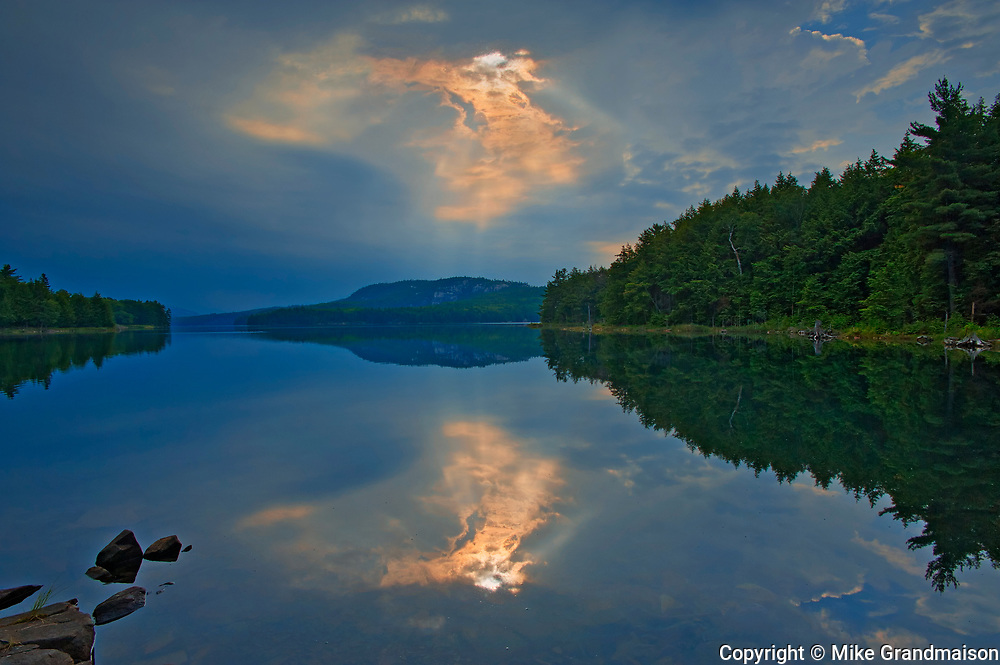 Storm light  reflected in Killarney  Lake<br />Killarney Provincial Park<br />Ontario<br />Canada