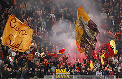 October 25, 2017 - Rome, Italy - Roma fans wave flags during the Serie A soccer match between Roma and Crotone at the Olympic stadium. (Credit Image: © Riccardo De Luca/Pacific Press via ZUMA Wire)