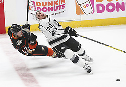 November 7, 2017 - Los Angeles, California, U.S - Los Angeles Kings forward Tanner Pearson (70) and Anaheim Ducks forward Richard Rakell (67) fight for the puck during a 2017-2018 NHL hockey game in Anaheim, California on Nov. 7, 2017. Los Angeles Kings won 4-3 in overtime. (Credit Image: © Ringo Chiu via ZUMA Wire)