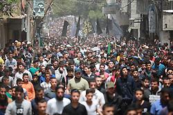 May 3, 2019 - Al-Buraj Refugee Camp, The Gaza Strip, Palestine - Palestinian mourners the bodies of Palestinians killed last night by Israeli airstrike at al-Buraj refugee camp in central of the Gaza Strip. (Credit Image: © Hassan Jedi/Quds Net News via ZUMA Wire)