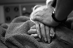 Stock photo of a visitor comforting an elderly patient