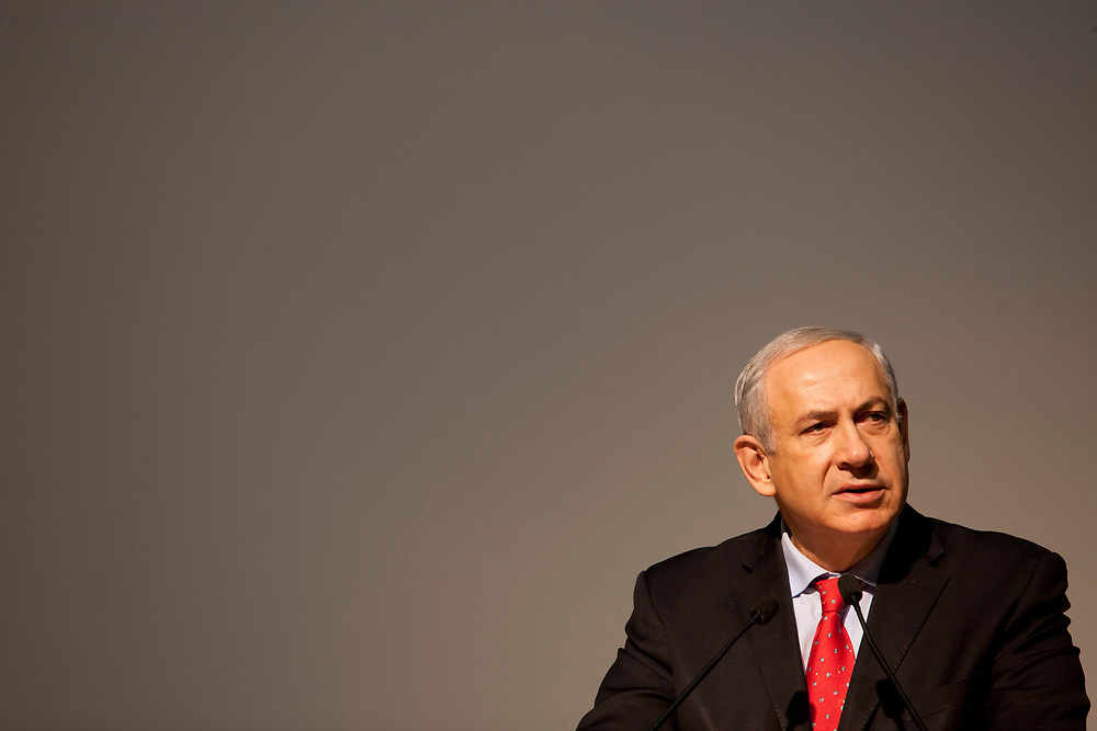Israel's Prime Minister Benjamin Netanyahu speaks during a special event marking 60 years to the foundation of the Israeli Border Police, at the Knesset, Israel's parliament in Jerusalem, on December 17, 2013.