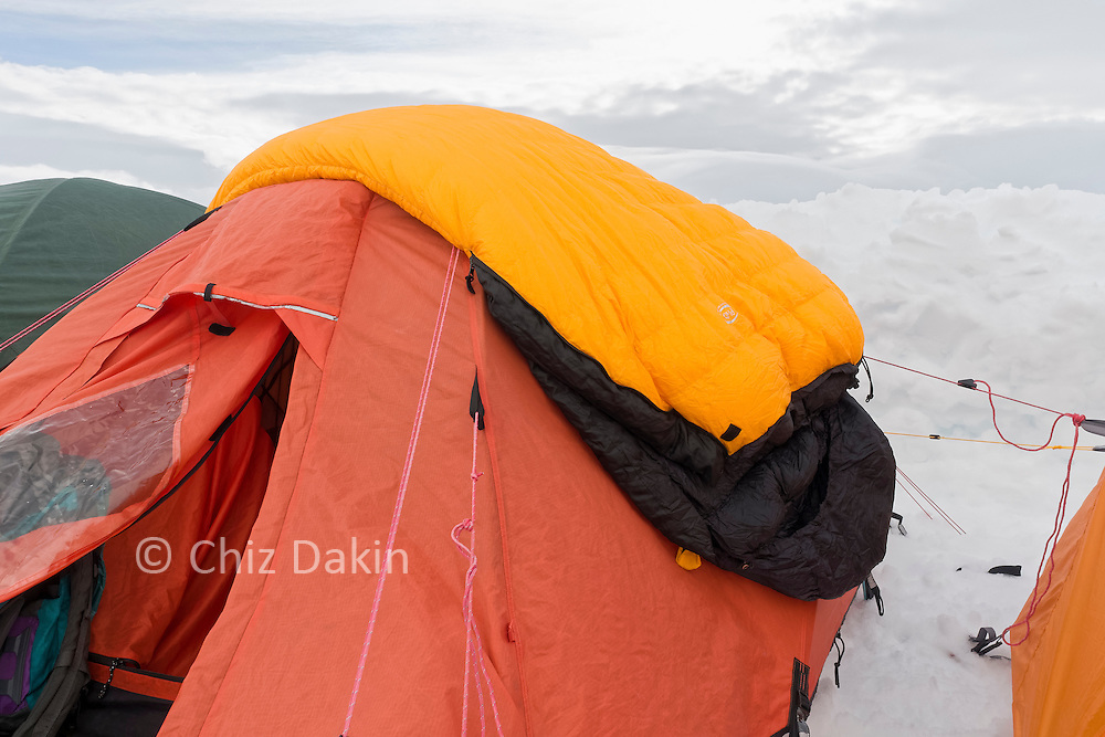 PHD Hispar 500 sleeping bag getting a very brief chance to air once the tents were up