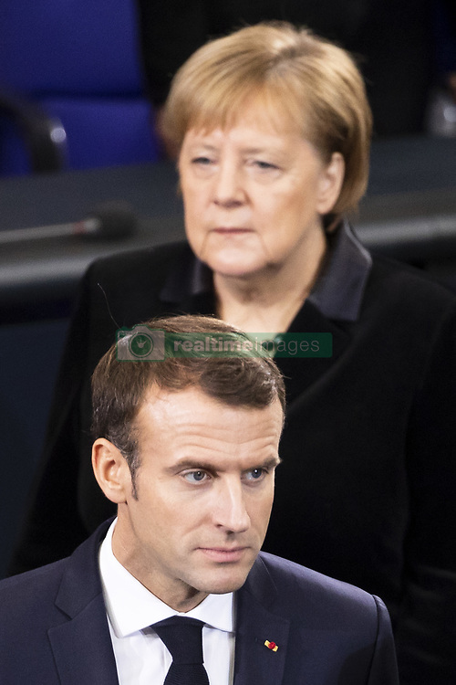 November 18, 2018 - Berlin, Germany - German Chancellor Angela Merkel (up) and French President Emmanuel Macron (down) arrive for Germany's Memorial Day (Volkstrauertag) to commemorate the victims of world wars I and II at Bundestag lower house of parliament in Berlin, Germany on November 18, 2018. (Credit Image: © Emmanuele Contini/NurPhoto via ZUMA Press)