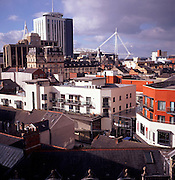 View over city centre buildings, Cardiff, Wales