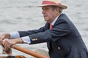 """Henley on Thames. United Kingdom. """"Hats at Henley""""  George LAWSON, [Ex HRR Press Officer] Leander Hat and Blazer.<br /> Sunday  03/07/2016      <br /> <br /> 2016 Henley Royal Regatta, Henley Reach.   <br /> © Peter SPURRIER,<br /> NIKON CORPORATION  NIKON D500  f9  1/800sec  750mm  10.1MB"""