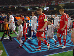 Athens, Greece - Wednesday, May 23, 2007: Liverpool's Steven Gerrard and John Arne Riise walks on the the pitch before the UEFA Champions League Final against AC Milan at the OACA Spyro Louis Olympic Stadium. (Pic by Jason Roberts/Propaganda)
