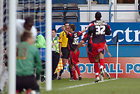 Photo: Kevin Poolman.<br />Luton Town v Queens Park Rangers. Coca Cola Championship. Jimmy Smith of QPR (centre) celebrates his goal and QPR's first.