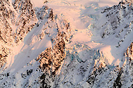 Mount Shuksan's Hanging Glacier is bathed in sunset light in North Cascades National Park, Washington State, USA