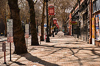 Pioneer Square is completely empty around 11am on a Saturday morning. (April 4, 2020).