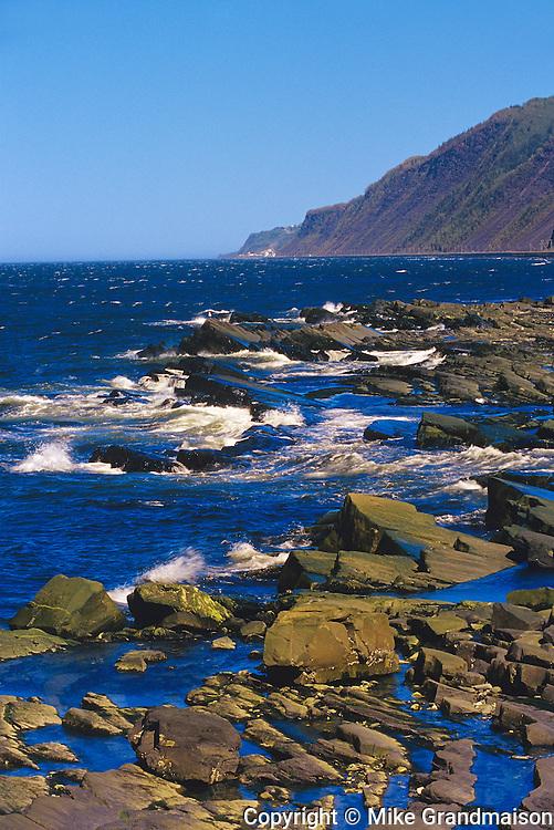 Rocky shoreline along the Gulf of St. Lawrence (Atlantic Ocean)<br /> Pointe_A-La-Fregate<br /> Quebec<br /> Canada