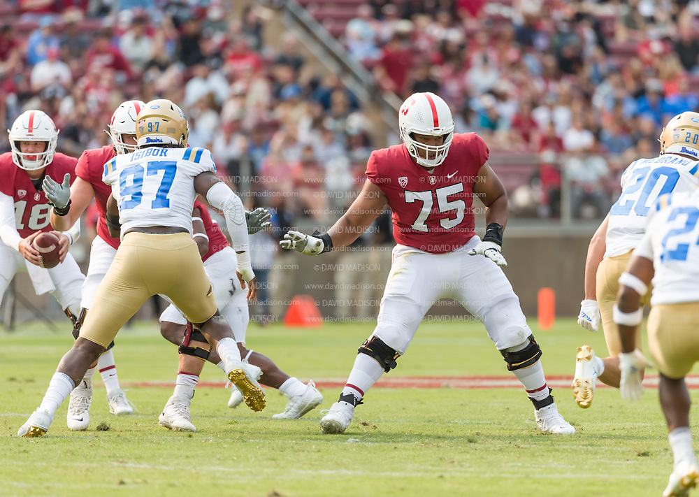 PALO ALTO, CA - SEPTEMBER 26:  Offensive tackle Walter Rouse #75 of the Stanford Cardinal plays in an NCAA Pac-12 college football game against the UCLA Bruins on September 26, 2021 at Stanford Stadium in Palo Alto, California.  (Photo by David Madison/Getty Images)