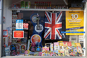 The window of a high street corner shop serving the local rural community, on 9th August 2020, in Stalham, Norfolk, England.
