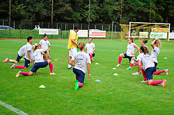 Players of ZNK Pomurje warming up prior to the  UEFA Women's Champions League Qualifying Match between ZNK Teleing Pomurje (SLO) and Olimpia Cluj (ROU) at Sportni Park on August 16, 2015 in Beltinci, Slovenia. Photo by Mario Horvat / Sportida