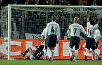 Photo: Glyn Thomas.<br />England v Argentina. International Friendly. 12/11/2005.<br />Argentina's Roberto Ayala (L) scores his team's second goal.