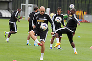 Jonjo Shelvey of Swansea city in action.Swansea city FC team training in Llandore, Swansea,South Wales on Thursday 15th August 2013. The team are preparing for the opening weekend of the Barclays premier league when they face Man Utd. pic by David Richards,  Andrew Orchard sports photography,