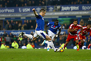 Leighton Baines of Everton scores his teams 3rd goal from the penalty spot to make it 3-2. Premier league match, Everton vs Watford at Goodison Park in Liverpool, Merseyside on Sunday 5th November 2017.<br /> pic by Chris Stading, Andrew Orchard sports photography.