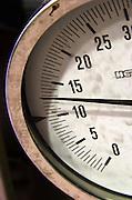 Thermometer on a fermentation tank at 13 thirteen degrees. Albet i Noya. Penedes Catalonia Spain