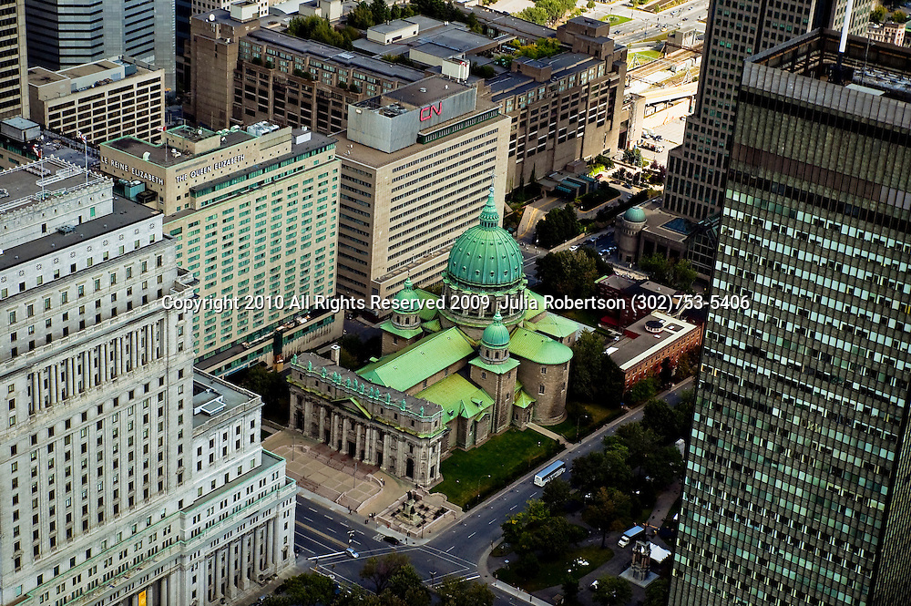 aerial view of Mary, Queen of the World Cathedral, Marie-Reine-De-Monde Cathedrale in  Downtown Montreal