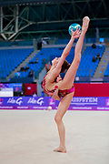 Tuncel Kamelya during qualifying at ball in Pesaro World Cup 13 April, 2018. Kamelya is a turkish gymnast born in Yenimahalle, metropolitan district of Ankara Province, in 2002.
