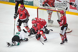 Matthew CLIMIE vs Ales MUSIC during First league between HDD Acroni Jesenice vs HK SZ Olimpia, on April 23, 2019 in Jesenice, Slovenia. Photo by Peter Podobnik / Sportida