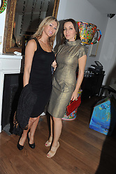 Left to right, VALERIE LEVINE and KATYA LUKI at a dinner hosted by Marlon and Nadya Abela in aid of Kids Company at Morton's, Berkeley Square, London on 25th September 2012.